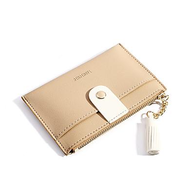 preiswerte Taschen-Damen Quaste PU Geldbörse Volltonfarbe Schwarz / Rosa / Knackmandel