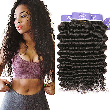 povoljno Ekstenzije od ljudske kose-3 paketa Malezijska kosa Wavy Duboko Val Virgin kosa 100% Remy kose tkanja Bundle Ljudske kose plete Bundle kose Ekstenzije od ljudske kose 8-28 inch Natural Isprepliće ljudske kose Sexy Lady