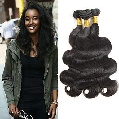 povoljno Ekstenzije za kosu-6 paketića Indijska kosa Tijelo Wave Remy kosa Headpiece Ljudske kose plete Bundle kose 8-28 inch Prirodna boja Isprepliće ljudske kose Nježno Jednostavan dressing Najbolja kvaliteta Proširenja