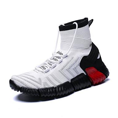 สำหรับผู้ชาย รองเท้าสบาย ๆ Tissage Volant ฤดูร้อนฤดูใบไม้ผลิ รองเท้ากีฬา สำหรับวิ่ง สีดำ / ขาว / แดง