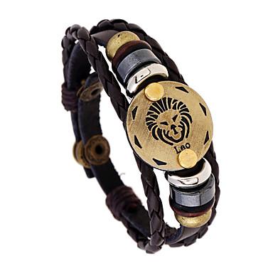 levne Pánské šperky-Pánské Kožené náramky Jóga Panna Taurus Ryby Punk Kožené Náramek šperky Hnědá Pro Denní Festival