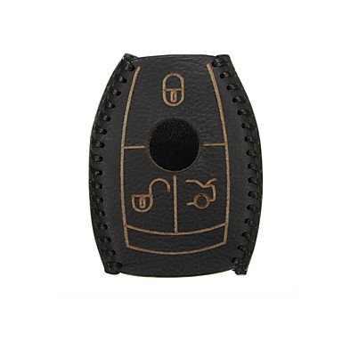 levne Doplňky do interiéru-kožené pouzdro na chytrý klíč černé pro mercedes-benz w203 w210 w211 amg w204