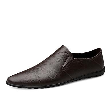 สำหรับผู้ชาย รองเท้าหนัง หนัง ฤดูร้อนฤดูใบไม้ผลิ ไม่เป็นทางการ รองเท้าส้นเตี้ยทำมาจากหนังและรองเท้าสวมแบบไม่มีเชือก ระบายอากาศ ลายเสือ สีดำ / สีน้ำตาล / รองเท้าขับขี่