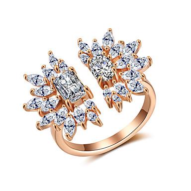 voordelige Dames Sieraden-Dames Ring Open Ring Zirkonia 1pc Goud Koper Stijlvol Artistiek Feest Verloving Sieraden X-ring Cool