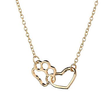 povoljno Modne ogrlice-Žene Ogrlice s privjeskom Dvobojna Srce Cat Claw Europska slatko Moda Moderna Krom Zlato Pink 47+7 cm Ogrlice Jewelry 1pc Za Dnevno Karneval Ulica Rad