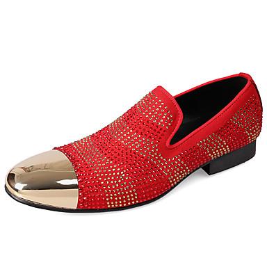 สำหรับผู้ชาย Novelty Shoes แน๊บป้า Leather ตก ไม่เป็นทางการ / อังกฤษ รองเท้าส้นเตี้ยทำมาจากหนังและรองเท้าสวมแบบไม่มีเชือก ไม่ลื่นไถล ลายแถบ สีดำ / แดง / หินประกาย / พรรคและเย็น / พรรคและเย็น