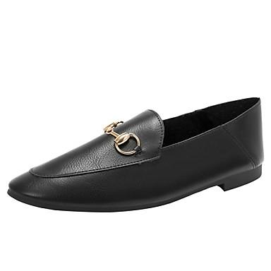 สำหรับผู้หญิง รองเท้าส้นเตี้ย ส้นแบน ปลายกลม หัวเข็มขัด Microfibre ไม่เป็นทางการ วสำหรับเดิน ฤดูร้อนฤดูใบไม้ผลิ สีดำ