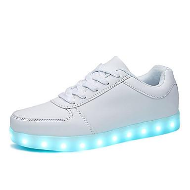 สำหรับผู้ชาย รองเท้า Light Up PU ฤดูร้อน Sporty / ไม่เป็นทางการ รองเท้าผ้าใบ ไม่ลื่นไถล สีดำ / ขาว / สีทอง