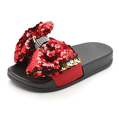 เด็กผู้หญิง ความสะดวกสบาย PU รองเท้าแตะและรองเท้าแตะ เด็กวัยหัดเดิน (9m-4ys) / เด็กน้อย (4-7ys) สีดำ / ขาว / แดง ฤดูร้อน