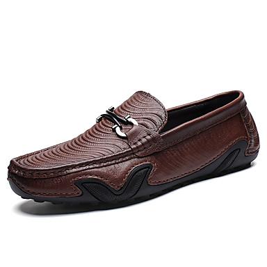 สำหรับผู้ชาย สไตล์อินเดียนแดง หนัง ฤดูใบไม้ผลิ / ตก คลาสสิก / ไม่เป็นทางการ รองเท้าส้นเตี้ยทำมาจากหนังและรองเท้าสวมแบบไม่มีเชือก ไม่ลื่นไถล สีดำ / กาแฟ / สำนักงานและอาชีพ / รองเท้าขับขี่