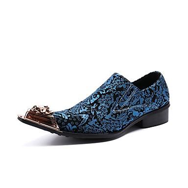 สำหรับผู้ชาย Novelty Shoes แน๊บป้า Leather ฤดูใบไม้ผลิ / ตก ไม่เป็นทางการ / อังกฤษ รองเท้าส้นเตี้ยทำมาจากหนังและรองเท้าสวมแบบไม่มีเชือก ไม่ลื่นไถล ฟ้า / พรรคและเย็น / พรรคและเย็น / ใส่รองเท้า