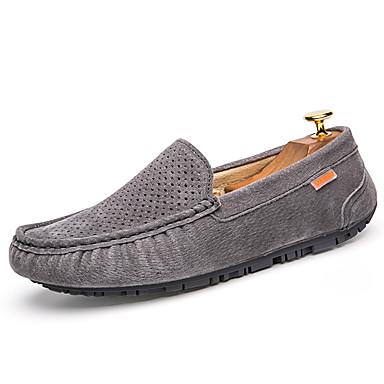 สำหรับผู้ชาย สไตล์อินเดียนแดง หนัง ตก / ฤดูร้อนฤดูใบไม้ผลิ คลาสสิก / ไม่เป็นทางการ รองเท้าส้นเตี้ยทำมาจากหนังและรองเท้าสวมแบบไม่มีเชือก ไม่ลื่นไถล สีดำ / สีเทา / กาแฟ / รองเท้าขับขี่