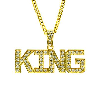 povoljno Modne ogrlice-Muškarci Kristal Ogrlice s privjeskom franko lanac Slovo Europska pomodan Rock Moda Krom Zlato Pink 76 cm Ogrlice Jewelry 1pc Za Dnevno Karneval Ulica