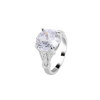 billige Motering-Dame Ring Krystall 1pc Hvit Legering Enkel Klassisk Vintage Gave Daglig Smykker Solitaire Kul