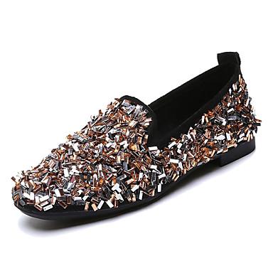 สำหรับผู้หญิง รองเท้าส้นเตี้ยทำมาจากหนังและรองเท้าสวมแบบไม่มีเชือก ส้นแบน หินประกาย PU ไม่เป็นทางการ ฤดูใบไม้ผลิ สีดำ / สีเหลือง / เงิน / ทุกวัน