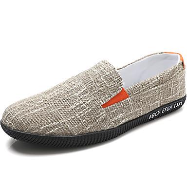 cheap Men's Shoes-Men's Espadrilles Linen Spring & Summer Casual Loafers & Slip-Ons Walking Shoes Breathable Khaki / Black / Beige
