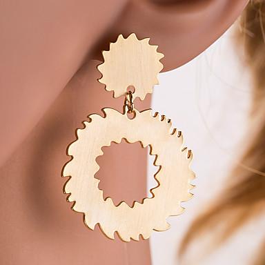 povoljno Modne naušnice-Žene Srebro Zlato Viseće naušnice Geometrijski Gear Europska Naušnice Jewelry Zlato / Pink Za Dnevno 1 par