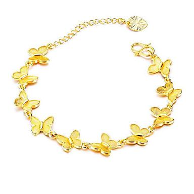 สำหรับผู้หญิง สร้อยข้อมือโซ่และเชื่อมโยง คลาสสิค Butterfly Stylish ทองชุบ สร้อยข้อมือเครื่องประดับ สีทอง สำหรับ ของขวัญ ทุกวัน