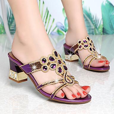 สำหรับผู้หญิง รองเท้าแตะ ส้นหนา เปิดนิ้ว คริสตัล / หินประกาย Synthetics หวาน / minimalism ฤดูใบไม้ผลิ & ฤดูใบไม้ร่วง / ฤดูร้อนฤดูใบไม้ผลิ สีม่วง / สีทอง / พรรคและเย็น / พรรคและเย็น