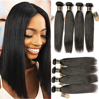 6 กลุ่ม ผมบราซิล Straight 100% Remy Hair Weave Bundles มนุษย์ผมสาน หนึ่งแพ็คโซลูชั่น 8-28 inch สีธรรมชาติ สานเส้นผมมนุษย์ Odor Free ชีวิต ลดกระหน่ำ ส่วนขยายของผมมนุษย์