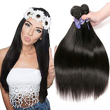 povoljno Ekstenzije od ljudske kose-3 paketa Indijska kosa Ravan kroj Remy kosa Netretirana  ljudske kose Ljudske kose plete Produžetak Bundle kose 8-28 inch Natural Isprepliće ljudske kose Jednostavan dressing Sexy Lady Najbolja