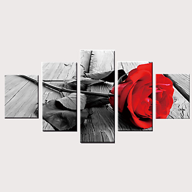 Print พิมพ์ผ้าใบรีด ลายผ้าแคนวาสยืด - สมัยใหม่ ลวดลายดอกไม้ / เกี่ยวกับพฤษศาสตร์ คลาสสิก ที่ทันสมัย ห้าภาพ ศิลปะภาพพิมพ์