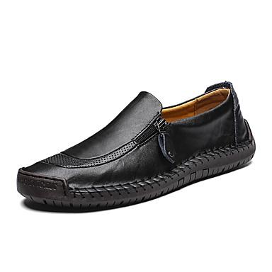 สำหรับผู้ชาย รองเท้าหนัง แน๊บป้า Leather ฤดูร้อนฤดูใบไม้ผลิ รองเท้าส้นเตี้ยทำมาจากหนังและรองเท้าสวมแบบไม่มีเชือก ระบายอากาศ สีดำ / สีน้ำตาลอ่อน / น้ำตาลเข้ม / พรรคและเย็น / พรรคและเย็น