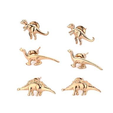 levne Dámské šperky-Dámské Peckové náušnice 3D Draci Dinosaurus Vintage Animák Punk Náušnice Šperky Zlatá / Stříbrná Pro Street Bar 3 páry