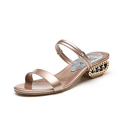 สำหรับผู้หญิง รองเท้าแตะ ส้นหนา PU ฤดูร้อน สีดำ / สีน้ำตาลอ่อน / สีทอง