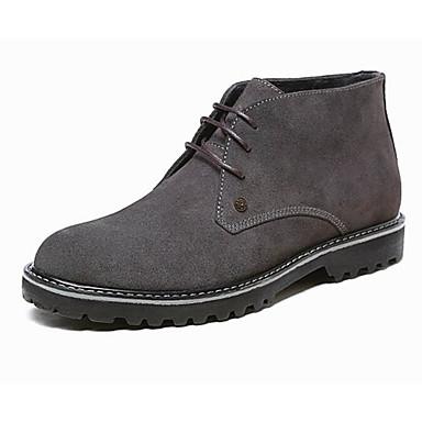 สำหรับผู้ชาย รองเท้าสบาย ๆ หนัง ฤดูใบไม้ร่วง & ฤดูหนาว บูท รองเท้าบู้ทหุ้มข้อ สีดำ / ฟ้า / สีเทา / รองเท้าคอมแบท
