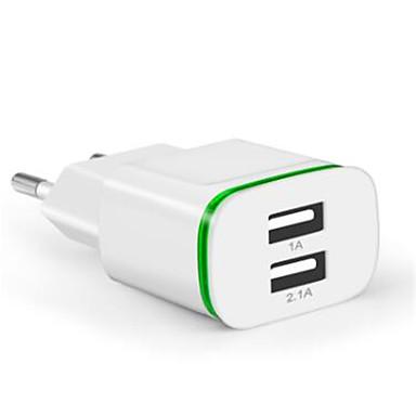 ชาร์จแบบพกพา ที่ชาร์จ USB หัวปลั๊กไฟแบบรุ่นของยุโรป หลายเอาท์พุท 2 พอร์ต USB 2.1 A 100~240 V สำหรับ Universal