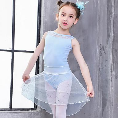 ชุดเต้นสำหรับเด็ก / ชุดเต้นบัลเล่ย์ Outfits เด็กผู้หญิง การฝึกอบรม / Performance ฝ้าย ลูกไม้ เสื้อไม่มีแขน ธรรมชาติ ชุดแนบเนื้อสำหรับการเต้น / Tutus