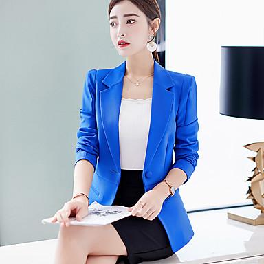 สำหรับผู้หญิง เสื้อคลุมสุภาพ, สีพื้น ปกคอแบะของเสื้อแบบน็อตช์ เส้นใยสังเคราะห์ / สแปนเด็กซ์ สีแดงชมพู / สีฟ้า / สีน้ำเงินกรมท่า