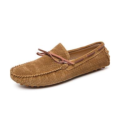 สำหรับผู้ชาย รองเท้าหนัง หนังหมู ฤดูร้อนฤดูใบไม้ผลิ รองเท้าส้นเตี้ยทำมาจากหนังและรองเท้าสวมแบบไม่มีเชือก ระบายอากาศ สีดำ / สีน้ำตาล / เขียวเข้ม