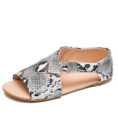 สำหรับผู้หญิง รองเท้าแตะ ส้นแบน เปิดนิ้ว หัวเข็มขัด PU ไม่เป็นทางการ ฤดูร้อนฤดูใบไม้ผลิ สีดำ / สีเขียว / สีดำและสีขาว