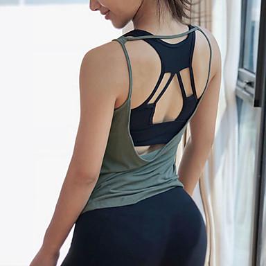 สำหรับผู้หญิง Cross Back Strap Tank สีทึบ การออกกำลังกาย เสื้อกล้าม เสื้อไม่มีแขน ชุดทำงาน ระบายอากาศ ผสมยางยืดไมโคร