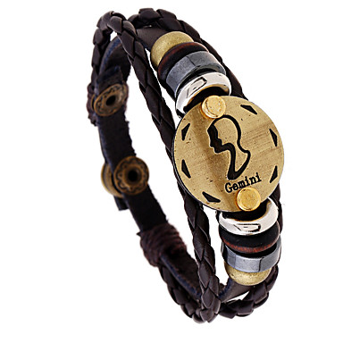 levne Pánské šperky-Pánské Klasické Náramky Pletený Gemini Punk Kožené Náramek šperky Kávová Pro Dar Denní