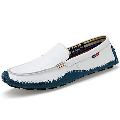 สำหรับผู้ชาย สไตล์อินเดียนแดง หนัง ฤดูใบไม้ผลิ / ตก คลาสสิก / ไม่เป็นทางการ รองเท้าส้นเตี้ยทำมาจากหนังและรองเท้าสวมแบบไม่มีเชือก ไม่ลื่นไถล ลายบล็อคสี สีดำ / ขาว / สีเหลือง / สำนักงานและอาชีพ