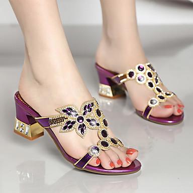 ราคาถูก Trendy Shoes-สำหรับผู้หญิง Synthetics ฤดูใบไม้ผลิ & ฤดูใบไม้ร่วง / ฤดูร้อนฤดูใบไม้ผลิ หวาน / minimalism รองเท้าแตะ ส้นหนา เปิดนิ้ว คริสตัล / หินประกาย สีทอง / สีม่วง / ฟ้า / พรรคและเย็น