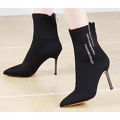 สำหรับผู้หญิง บูท ส้น Stiletto หนัง รองเท้าบู้ทหุ้มข้อ ฤดูใบไม้ร่วง & ฤดูหนาว สีดำ / Almond