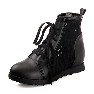 สำหรับผู้หญิง PU ฤดูร้อนฤดูใบไม้ผลิ ไม่เป็นทางการ / minimalism บูท Hidden Heel ปลายกลม รองเท้าบู้ทหุ้มข้อ ขาว / สีดำ / ผ้าขนสัตว์สีธรรมชาติ / พรรคและเย็น