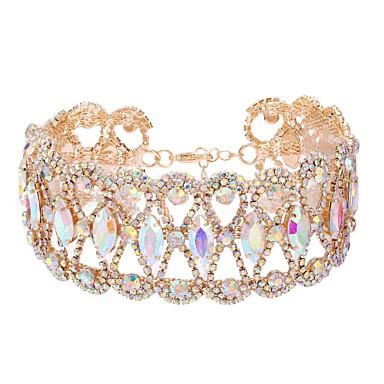 povoljno Modne ogrlice-Žene Choker oglice Luksuz Imitacija dijamanta Zlato Pink Duga 30 cm Ogrlice Jewelry 1pc Za Vjenčanje Klub