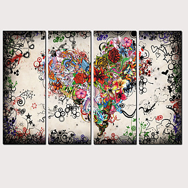 cheap Oversized Painting-Print Rolled Canvas Prints - Landscape Love & Hearts Classic Modern Four Panels Art Prints