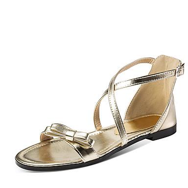 สำหรับผู้หญิง รองเท้าแตะ ส้นแบน เปิดนิ้ว หัวเข็มขัด หนังสิทธิบัตร หวาน ฤดูร้อน สีดำ / สีทอง / สีแดงสว่าง