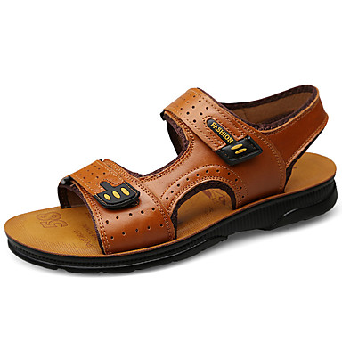 preiswerte Herren Sandalen-Herrn Komfort Schuhe Nappaleder Herbst / Frühling Sommer Klassisch / Retro Sandalen Upstream Schuhe Atmungsaktiv Braun