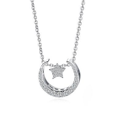 levne Dámské šperky-Dámské Kubický zirkon Přívěsky Geometrické Crescent Moon korejština Módní Titanová ocel Pokovená platina Brož Šperky Bílá / bílá Pro Street