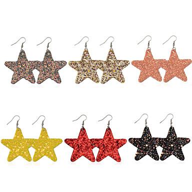 สำหรับผู้หญิง Drop Earrings แฟนซี Star วันหยุด สไตล์น่ารัก สไตล์พื้นบ้าน ต่างหู เครื่องประดับ สายรุ้ง สำหรับ ของขวัญ Prom 6 คู่