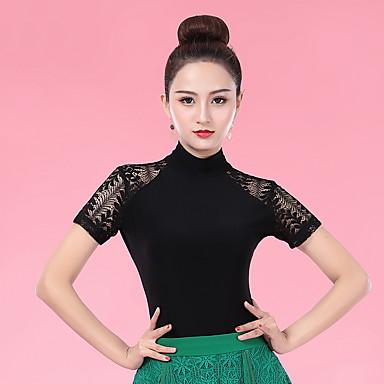 ชุดเต้นรำโมเดิร์น เสื้อ สำหรับผู้หญิง Performance น้ำแข็งไหม ลูกไม้ แขนสั้น Top