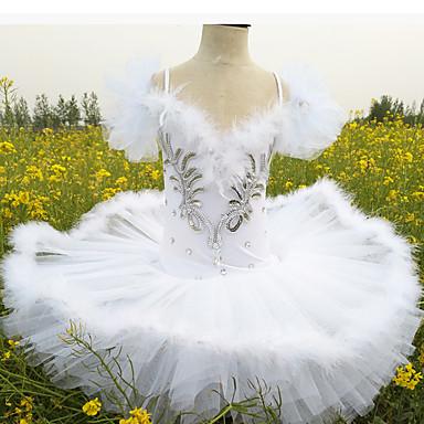 povoljno Odjeća i obuća za ples-Dječja plesna odjeća / Balet Suknjice Djevojčice Trening / Seksi blagdanski kostimi Spandex Perje / krzno / Blistati / Kristali / Rhinestones Haljina