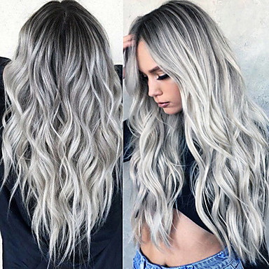 cheap Wigs & Hair Pieces-Synthetic Wig Curly Wavy Middle Part Wig Ombre Long Grey Ombre Pink Ombre Brown Ombre Green Ombre Red Synthetic Hair 24 inch Women's Fashionable Design Women Synthetic Dark Gray Ombre